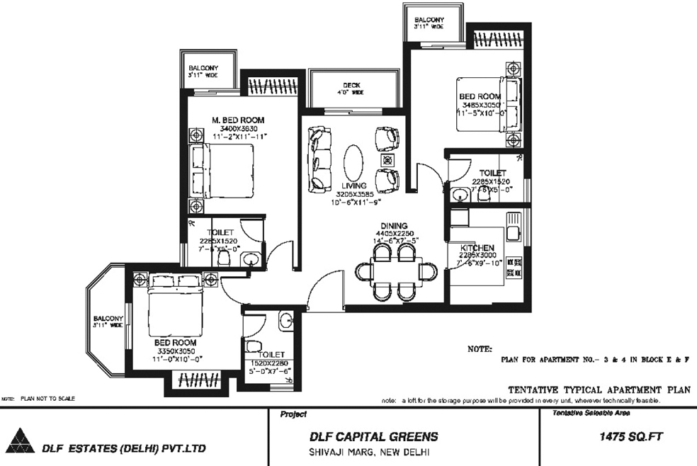 3 BHK Floor Plan : 1475 Sq.Ft.