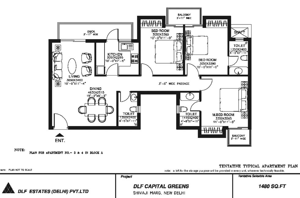 3 BHK Floor Plan : 1480 Sq.Ft.