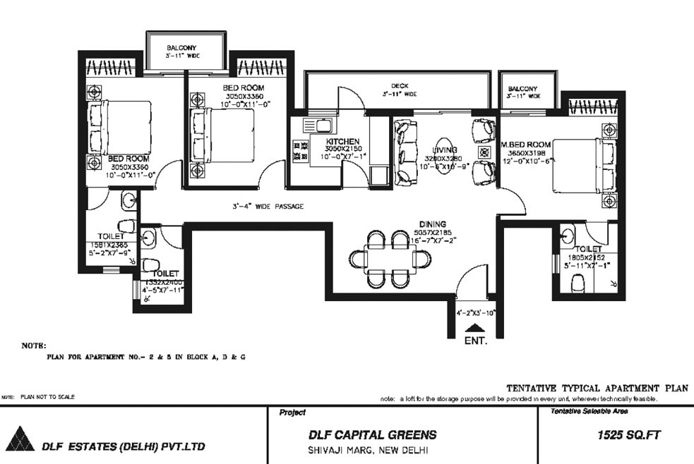 3 BHK Floor Plan : 1525 Sq.Ft.