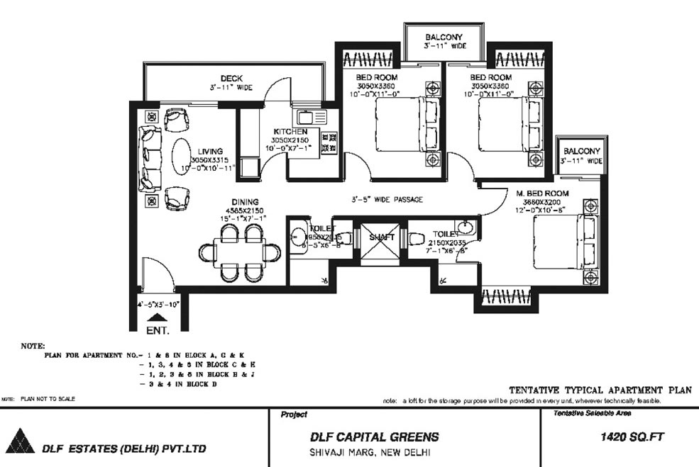 3 BHK Floor Plan : 1420 Sq.Ft.
