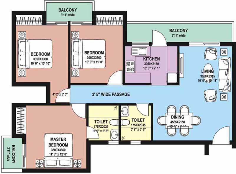 3 BHK Floor Plan : 1420 Sq.Ft.