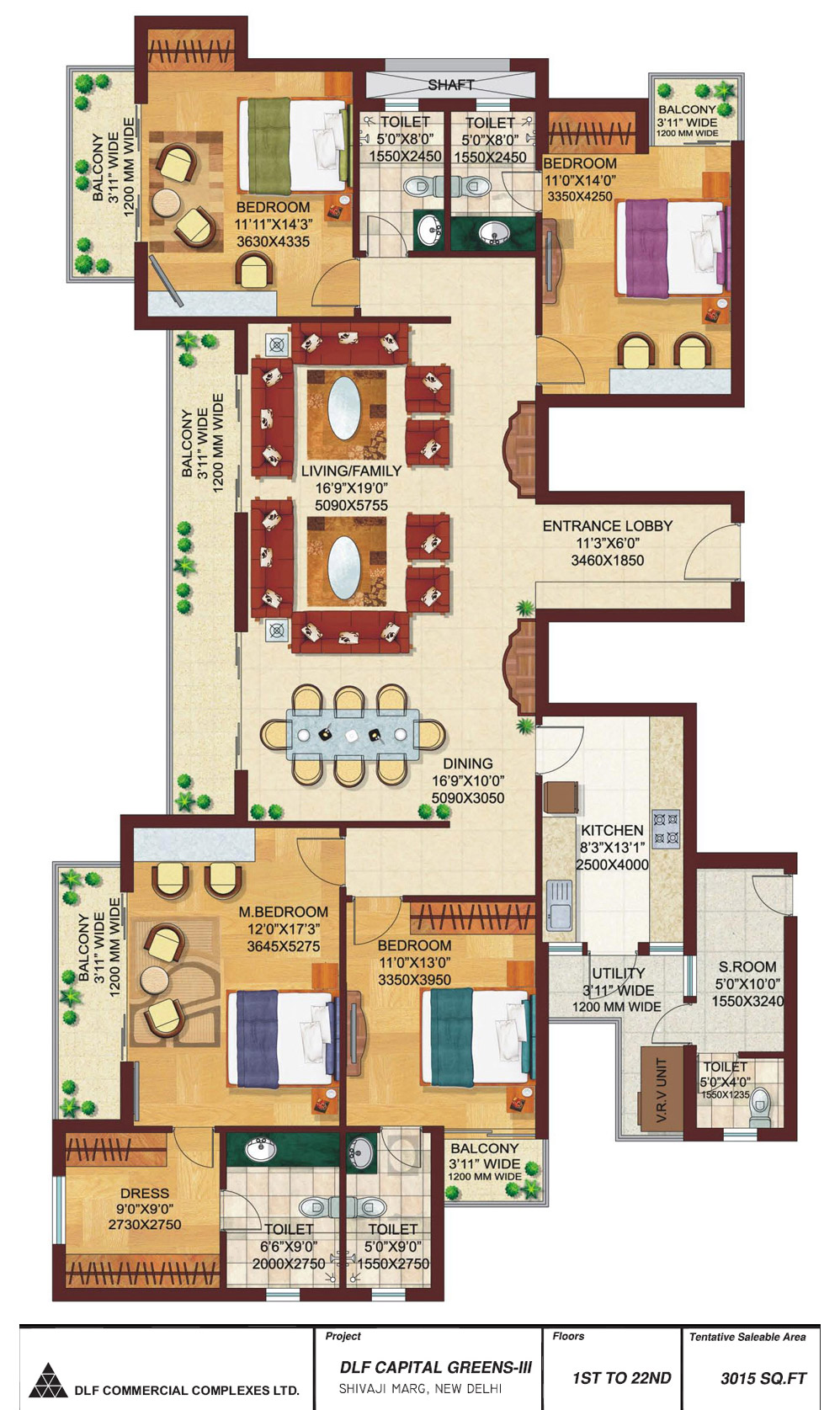 4 BHK Floor Plan : 3015 Sq.Ft.