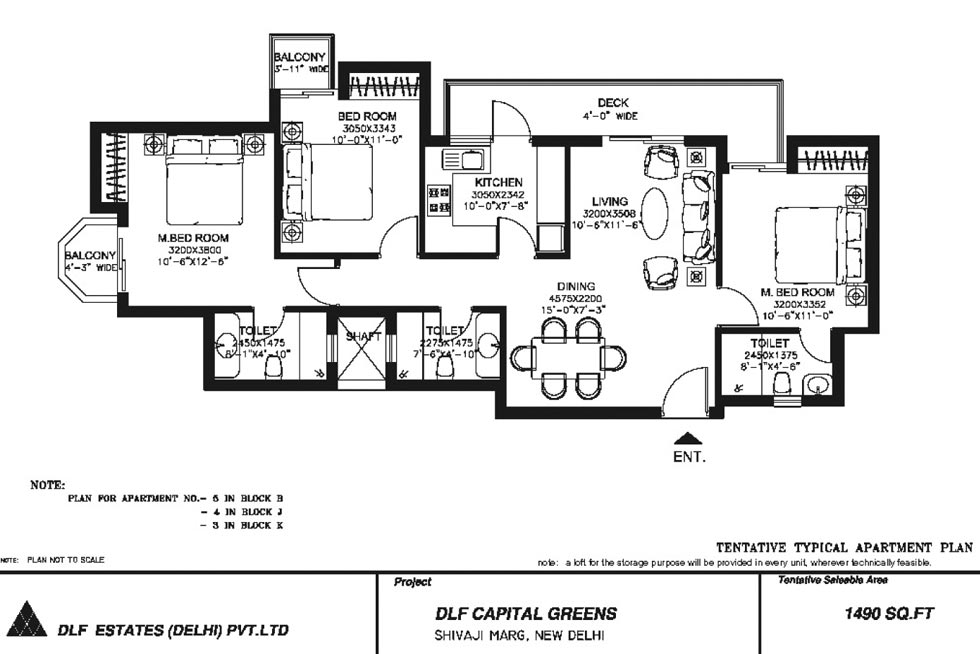3 BHK Floor Plan : 1490 Sq.Ft.