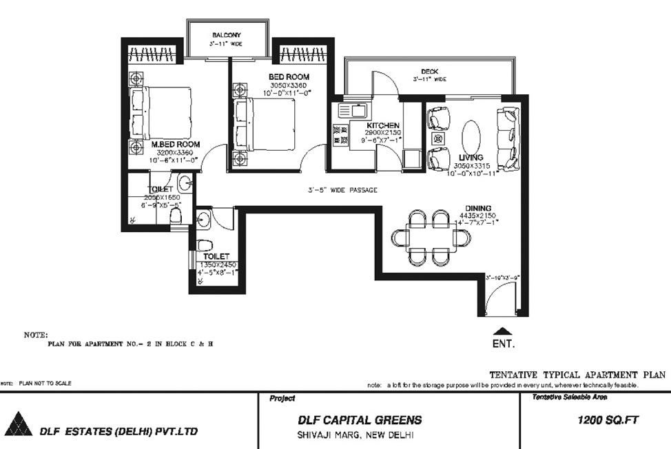 2 BHK Floor Plan : 1200 Sq.Ft.