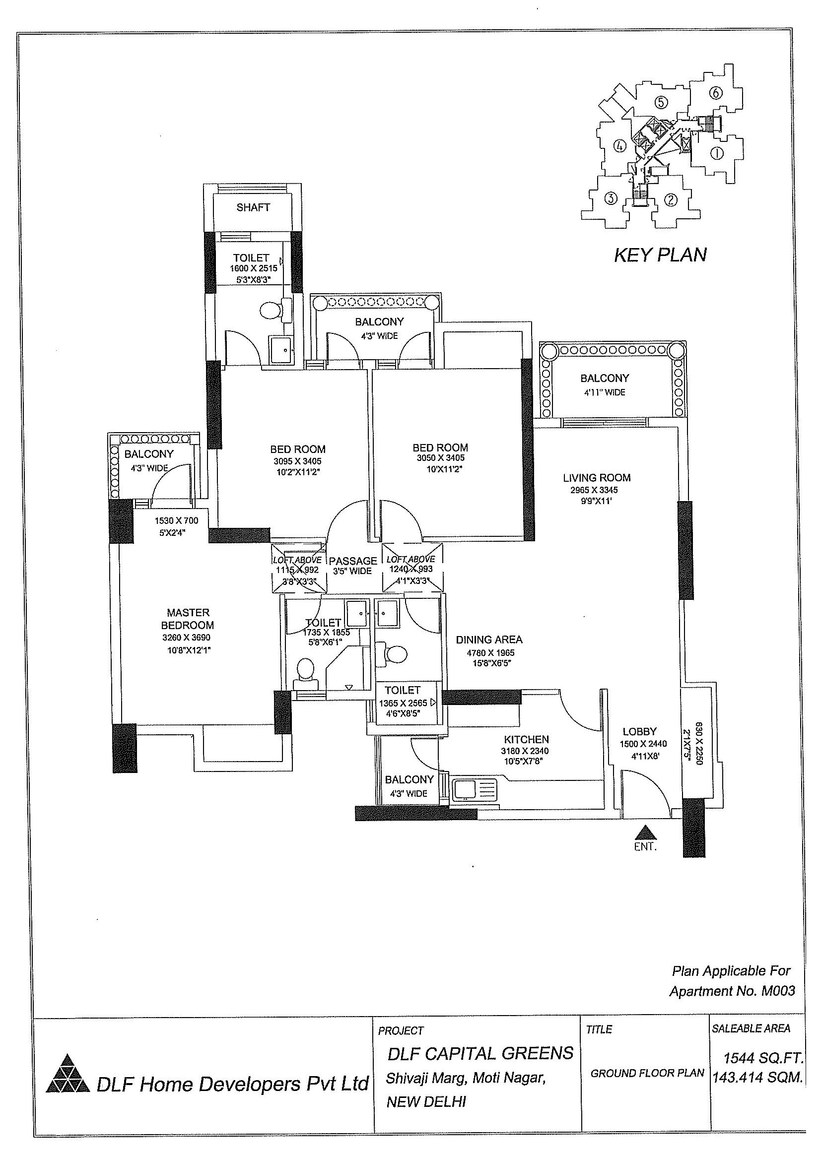 Area - 1544 Sq. Ft.