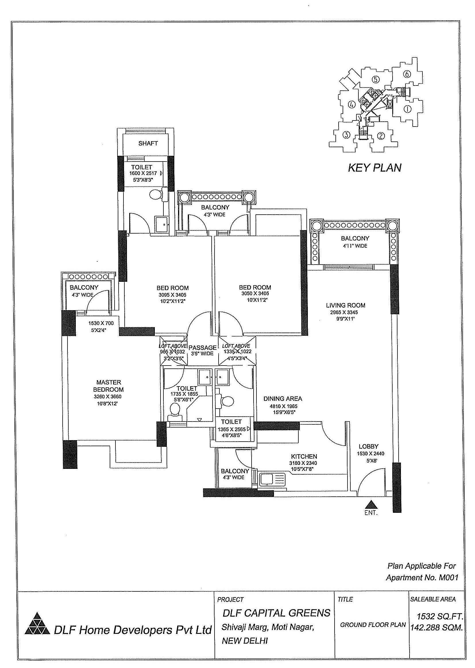 Area - 1532 Sq. Ft.
