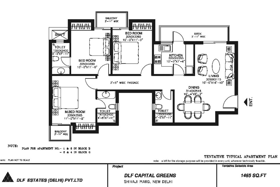 3 BHK Floor Plan : 1465 Sq.Ft.