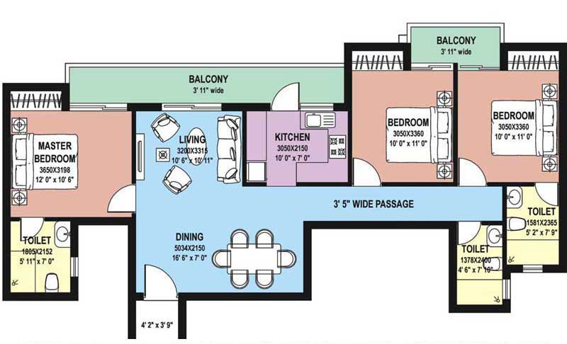 3 BHK Floor Plan : 1545 Sq.Ft.