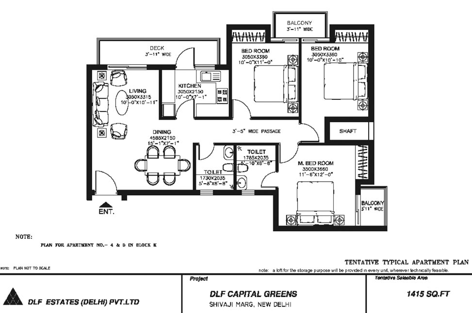 3 BHK Floor Plan : 1415 Sq.Ft.
