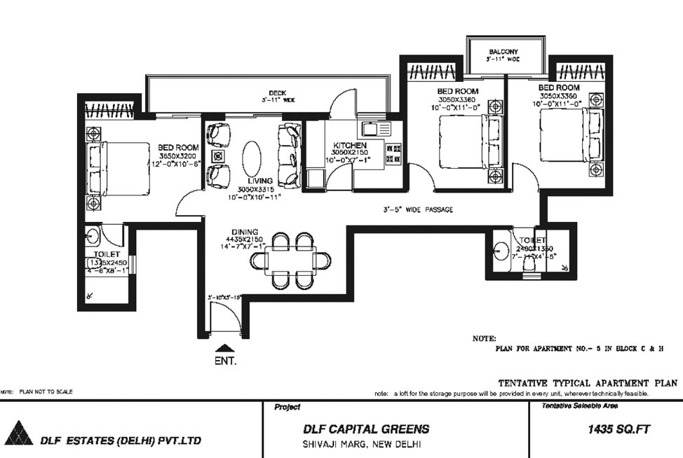 3 BHK Floor Plan : 1435 Sq.Ft.
