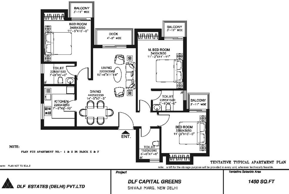 3 BHK Floor Plan : 1450 Sq.Ft.