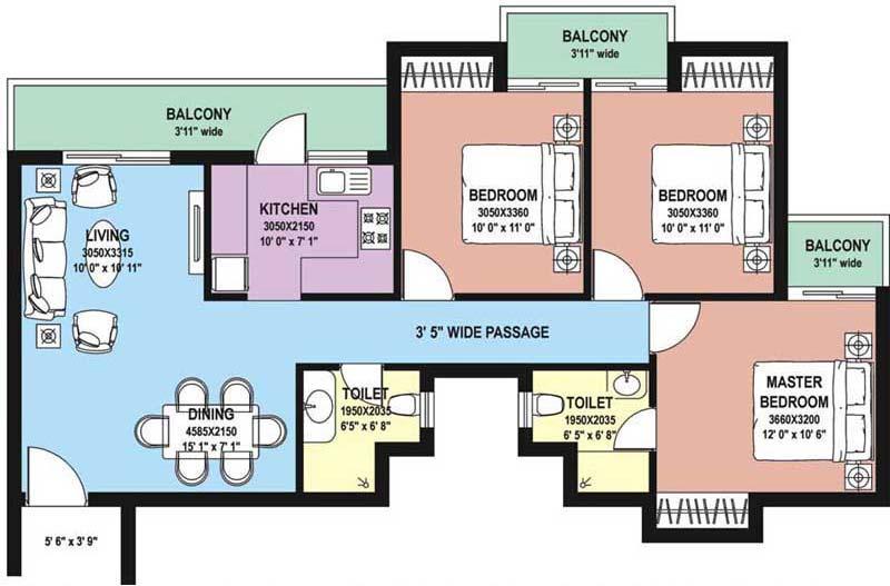 3 BHK Floor Plan : 1440 Sq.Ft.