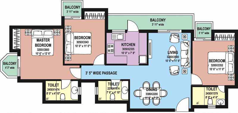 3 BHK Floor Plan : 1490 Sq.Ft.