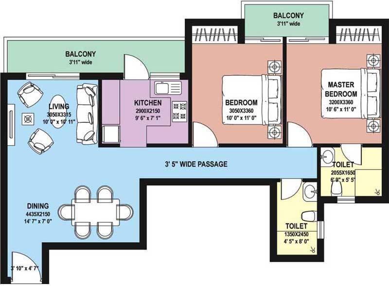 2 BHK Floor Plan : 1210 Sq.Ft.