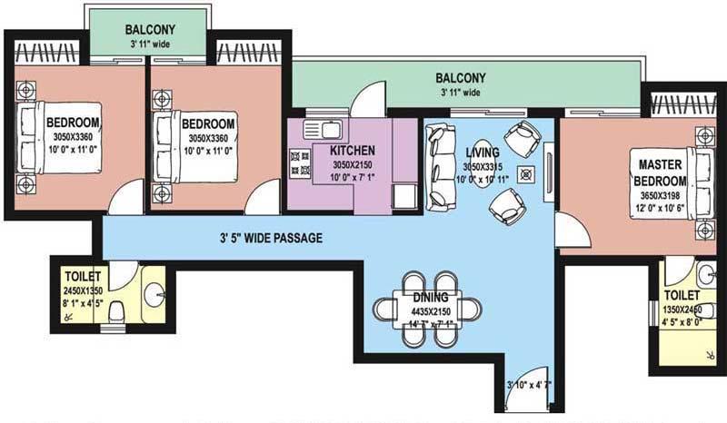 3 BHK Floor Plan : 1445 Sq.Ft.