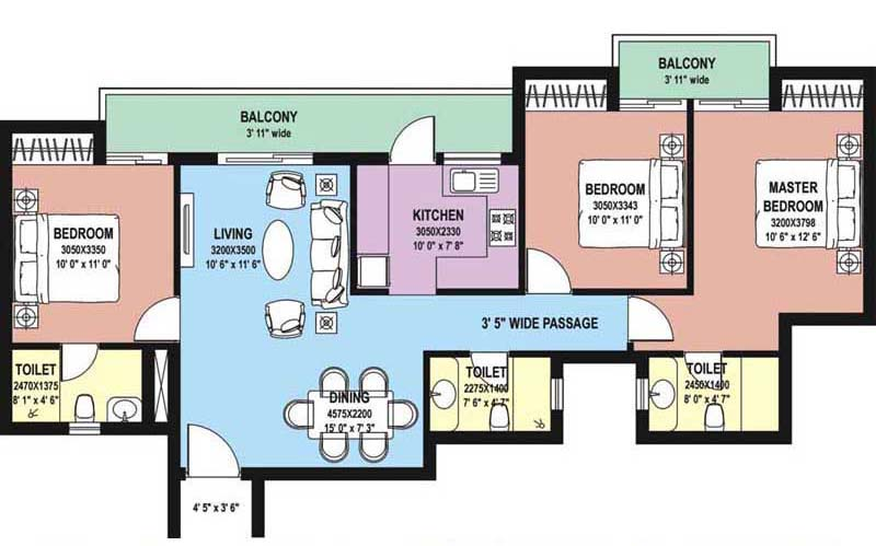 3 BHK Floor Plan : 1515 Sq.Ft.