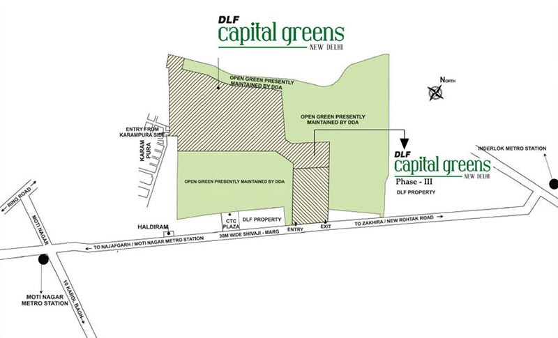Location Map DLF Capital Greens Phase 3 Shivaji Marg